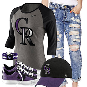 Colorado Rockies Cute Boyfriend Jeans Outfit