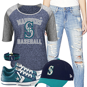Seattle Mariners Cute Boyfriend Jeans Outfit