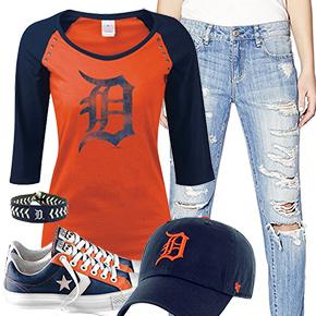 Detroit Tigers Cute Boyfriend Jeans Outfit