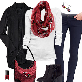 Arizona Cardinals Inspired Cardigan & Scarf Outfit