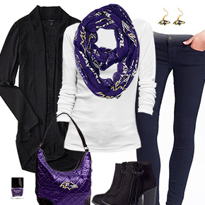 Baltimore Ravens Inspired Cardigan & Scarf Outfit