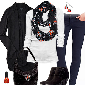 Cincinnati Bengals Inspired Cardigan & Scarf Outfit