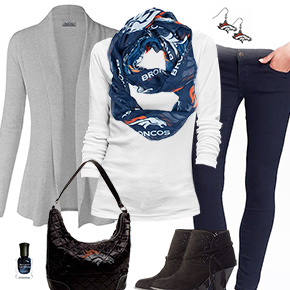 Denver Broncos Inspired Cardigan & Scarf Outfit