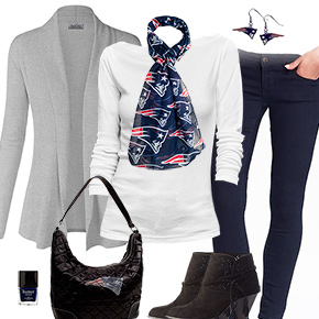 New England Patriots Inspired Cardigan & Scarf Outfit