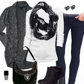 Oakland Raiders Inspired Cardigan & Scarf Outfit