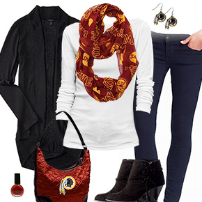 Washington Redskins Inspired Cardigan & Scarf Outfit
