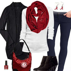 Alabama Crimson Tide Inspired Cardigan & Scarf Outfit