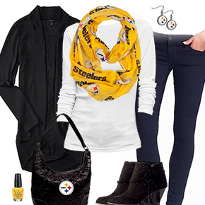 Pittsburgh Steelers Inspired Cardigan & Scarf Outfit