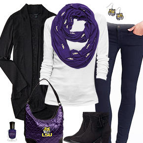 LSU Tigers Inspired Cardigan & Scarf Outfit