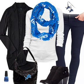 Detroit Lions Inspired Cardigan & Scarf Outfit