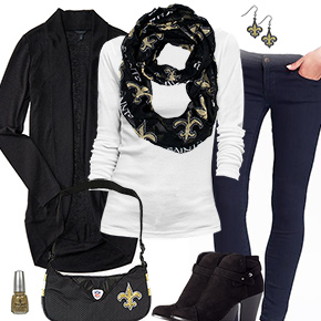 New Orleans Saints Inspired Cardigan & Scarf Outfit