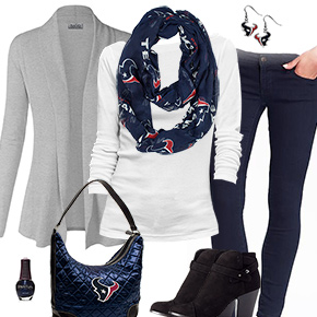 Houston Texans Inspired Cardigan & Scarf Outfit