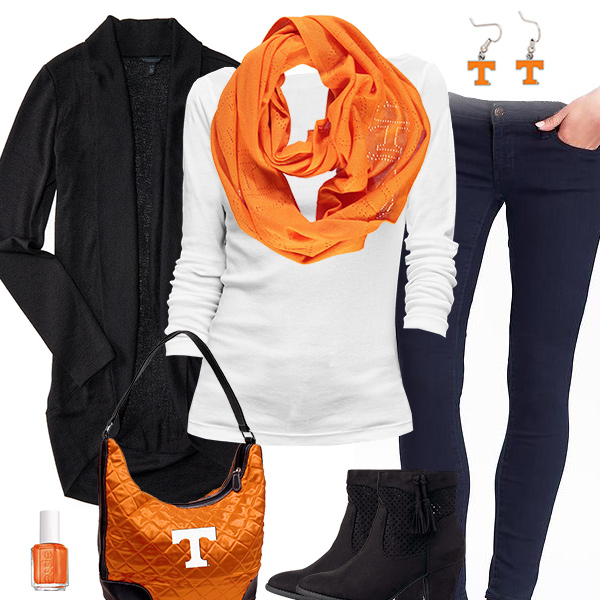 Tennessee Volunteers Inspired Cardigan & Scarf Outfit