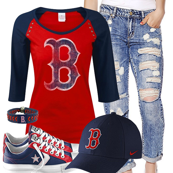 Boston Red Sox Cute Boyfriend Jeans Outfit