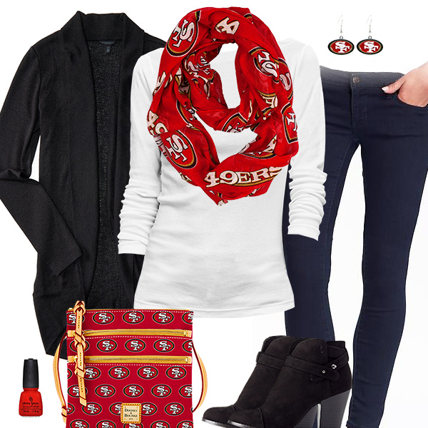 San Francisco 49ers Inspired Cardigan & Scarf Outfit