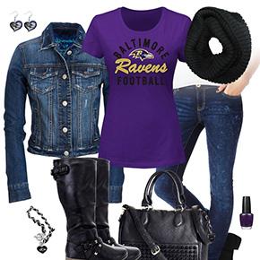 Baltimore Ravens Jean Jacket Outfit