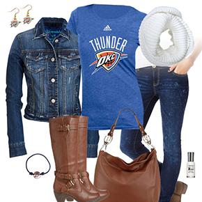 Oklahoma City Thunder Jean Jacket Outfit