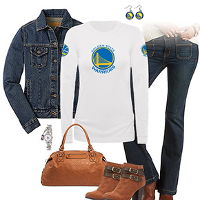 Golden State Warriors Flare Jeans Outfit