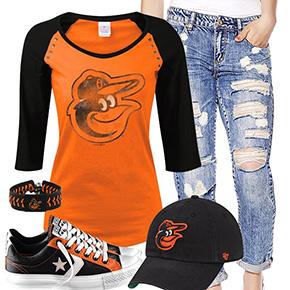 Baltimore Orioles Cute Boyfriend Jeans Outfit