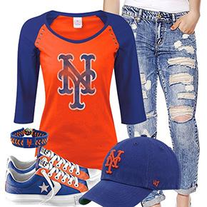 New York Mets Cute Boyfriend Jeans Outfit