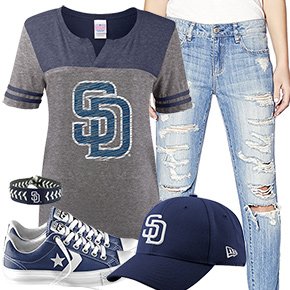 San Diego Padres Cute Boyfriend Jeans Outfit