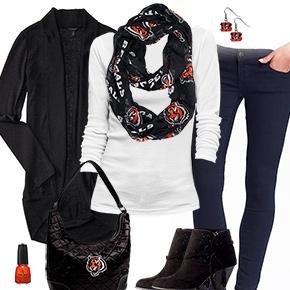 Cincinnati Bengals Inspired Cardigan & Scarf Outfit