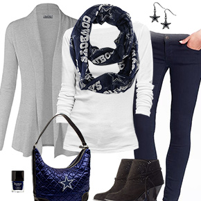 Dallas Cowboys Inspired Cardigan & Scarf Outfit