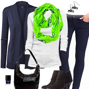 Seattle Seahawks Inspired Cardigan & Scarf Outfit
