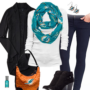 Miami Dolphins Inspired Cardigan & Scarf Outfit