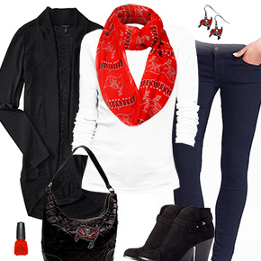 Tampa Bay Buccaneers Inspired Cardigan & Scarf Outfit