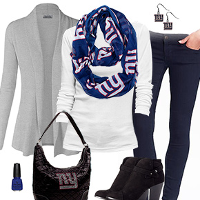 New York Giants Inspired Cardigan & Scarf Outfit